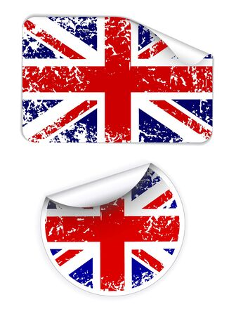 Set of labels with United Kingdom flag photo