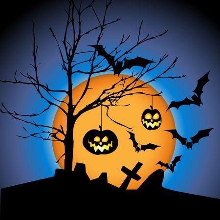 Halloween illustration with pumpkins, bats and big moon illustration