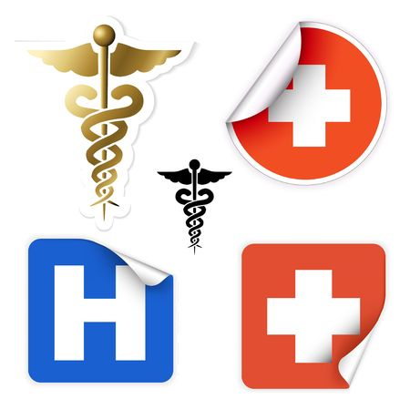 Set of various vector medical symbols on stickers photo