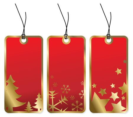 winter gift: Red Christmas tags with golden borders and seasonal motives Stock Photo