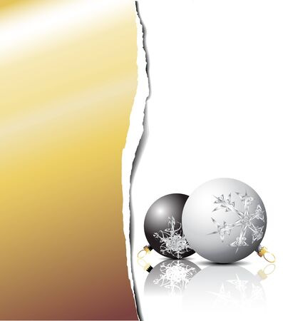Christmas card - black and white bulbs with golden place for your text photo