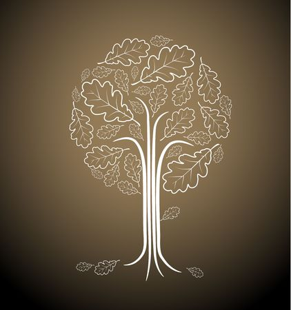 Vintage abstract tree drawing made from oak leafs photo