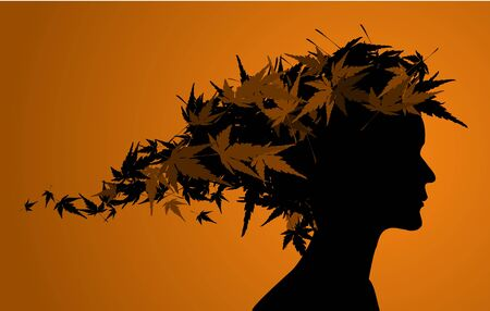 Autumn floral girl silhouette (with hair from leafs) photo