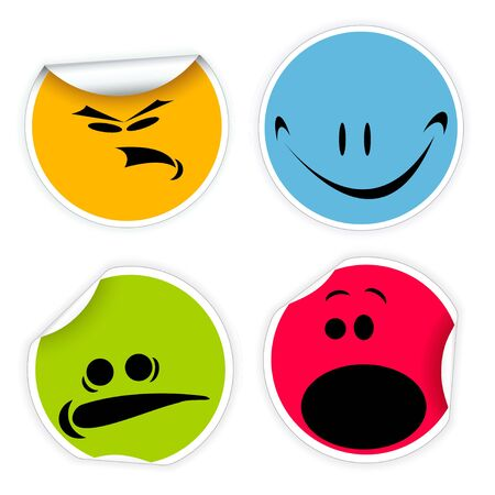 Set of colorful labels with vaus smiles Stock Photo - 5684147