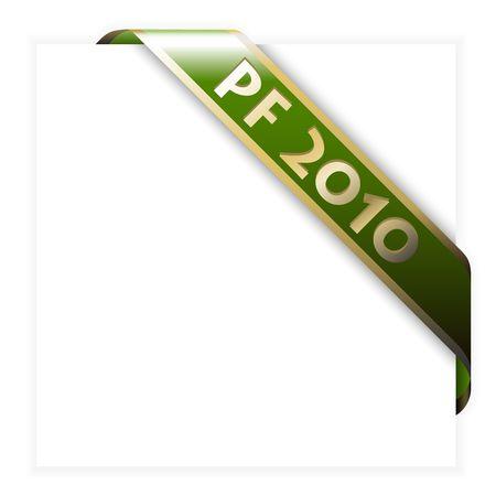 Christmas corner ribbon (green with golden borders) photo
