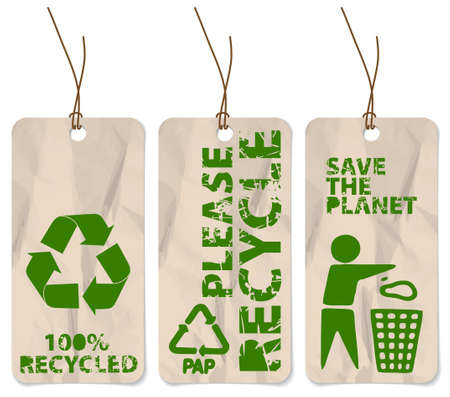 Set of three grunge tags for recycling photo