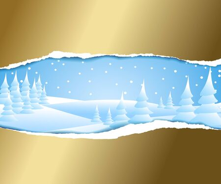 Christmas card with snowy winter landscape Stock Photo - 5684158