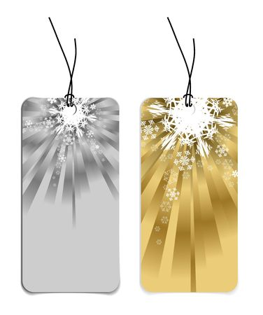Christmas tags with snowflakes (silver and golden version) photo