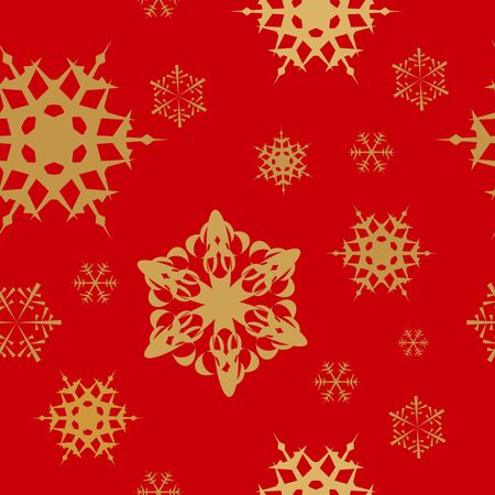 Winter - red christmas seamless pattern / texture with golden snowflakes Stock Photo - 5684193