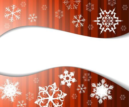 snow drift: Christmas background in red color with white snowflakes Stock Photo