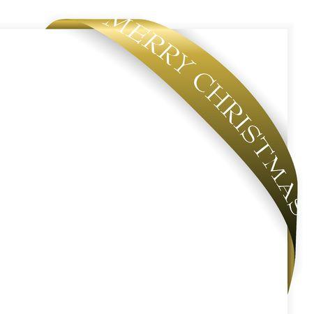 Golden Christmas corner ribbon on a sheet of white paper photo