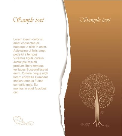 oak tree: Vintage abstract tree drawing with place for your text - nice autumn card Stock Photo