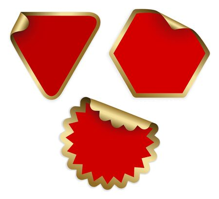 Christmas labels and stickers (golden and red) photo