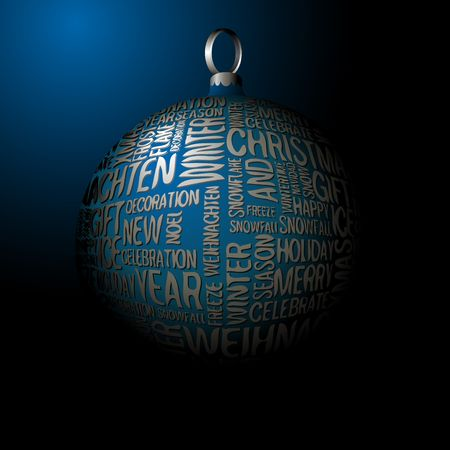3D Christmas decoration with seasonal silver words photo