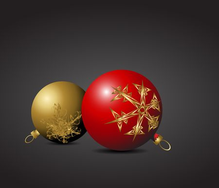 nobby: Red and golden Christmas bulbs with snowflakes ornaments