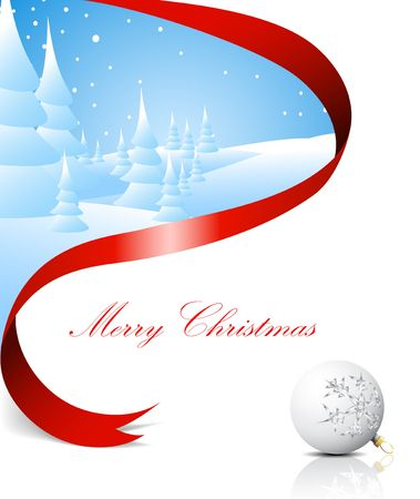 seasonable: Christmas card with snowy landscape, red ribbon and white bulb