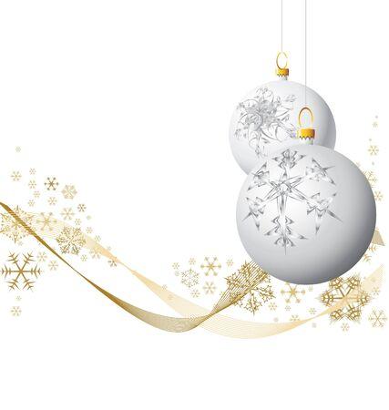 White Christmas bulbs with golden snowflakes photo