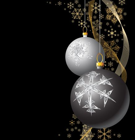weihnachten: Black and Silver Christmas bulbs with golden snowflakes