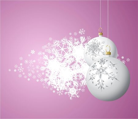 gleam: White Christmas bulbs with snowflakes on light purple background Stock Photo