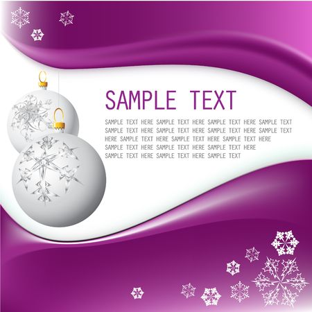 weihnachten: White Christmas bulbs with snowflakes on purple background Stock Photo