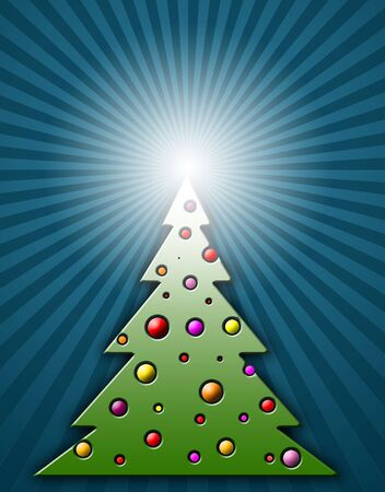 Modern christmas tree with stripes in background photo