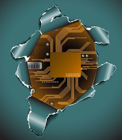 processors: Abstract electronic background - hole in the surface