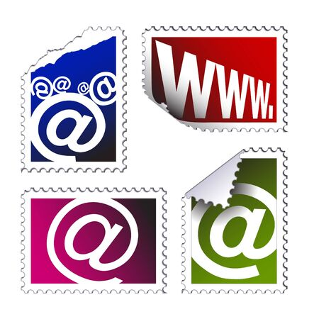 set of electronic post stamps (email) on a white background photo