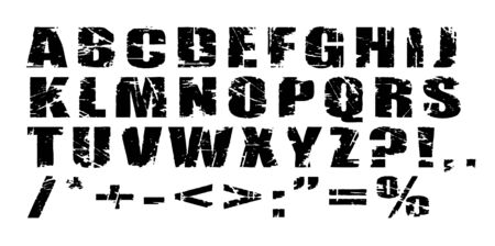 scalable:  Grunge Alphabet - Black letters on white background - scalable Stock Photo