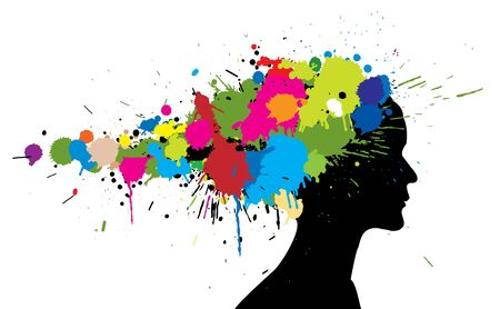 slop: Grunge girl silhouette made from colorful spatters Stock Photo