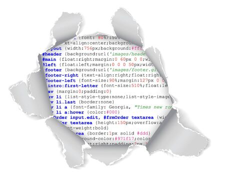 html: Hole in the webpage - you can see some code of the website Stock Photo
