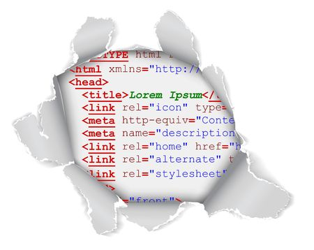 errors: Hole in the webpage - you can see some code of the website Stock Photo
