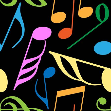 Endless music pattern made from vivid music notes Stock Photo