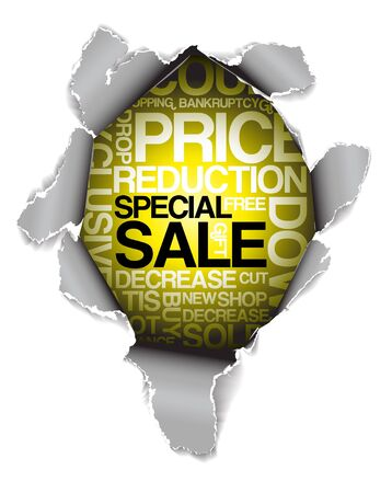 Sale discount advertisement - Hole with texts Stock Photo - 5740901