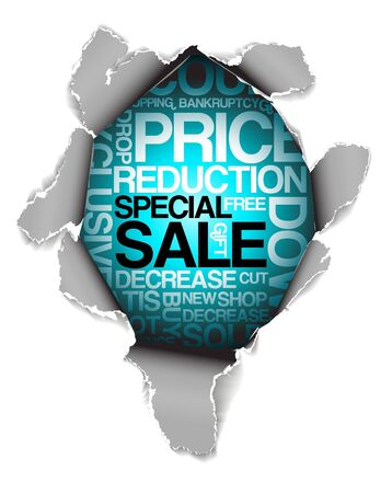 Sale discount advertisement - Hole with texts Stock Photo - 5740591