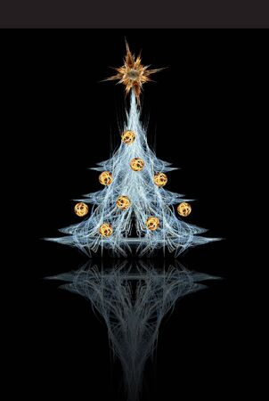 Fractal Christmas tree with star and decoration photo