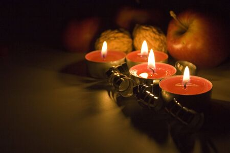 Christmas still life with candles photo