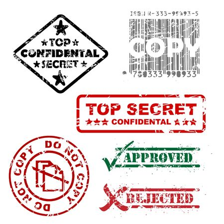 Top secret, approved, rejected, top confidental, copy stamps   photo