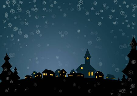 Nice christmas card with small village in night photo