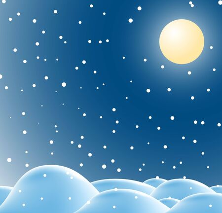 seasonable: Winter christmas landscape in night with snow flakes