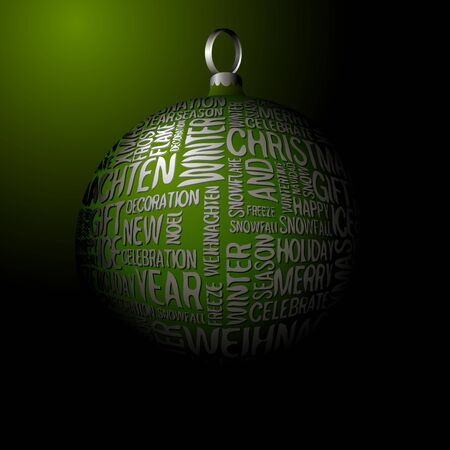 3D Christmas green decoration with seasonal silver words photo