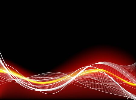 fibres: Abstract smooth black background with red fibres Stock Photo