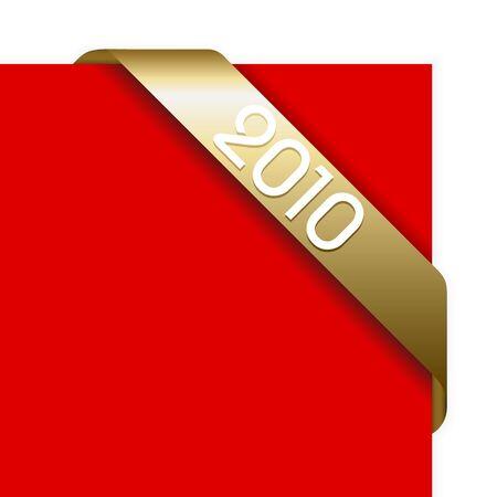 Fresh golden Christmas corner ribbon on  a red paper photo