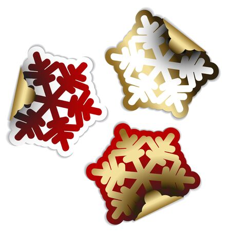 Snow flakes as labels badges and stickers photo