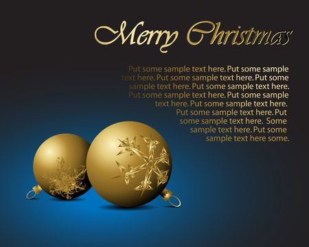nobby: Golden Christmas bulbs with snowflakes ornaments on blue background - ideal for Christmas card