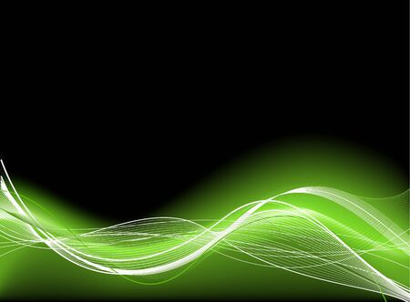 Abstract smooth black background with green fibres photo
