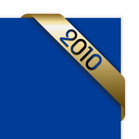 Fresh golden Christmas corner ribbon on a blue paper photo