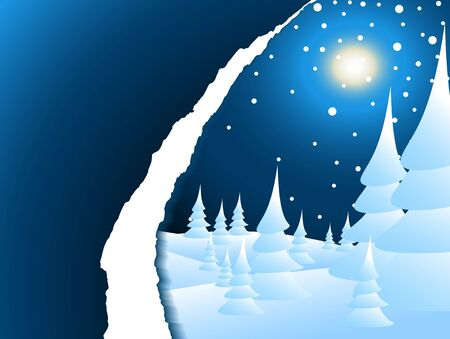 seasonable: Blue Christmas card with snowy winter night landscape
