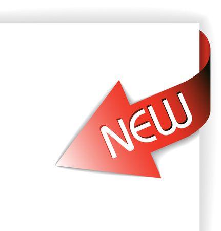 nastro angolo: Nuovo nastro angolo rosso - freccia che punta verso il contenuto Archivio Fotografico