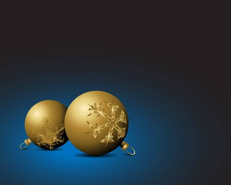 nobby: Christmas card - Golden bulbs with snowflakes ornaments on blue background Stock Photo
