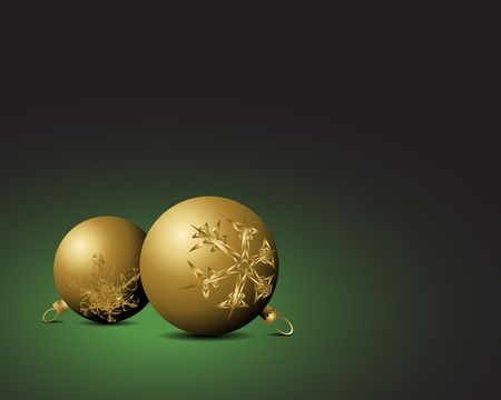 nobby: Christmas card - Golden bulbs with snowflakes ornaments on green background